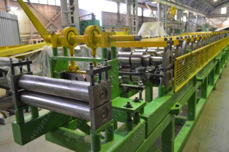 Line for the production of profile pipes with rebated lock